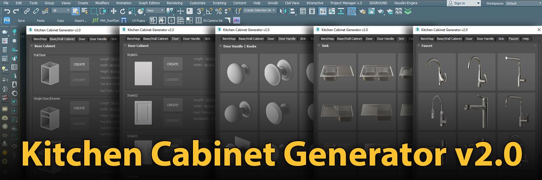 1500×500 Kitchen Cabinet Generator | ArchvizTools