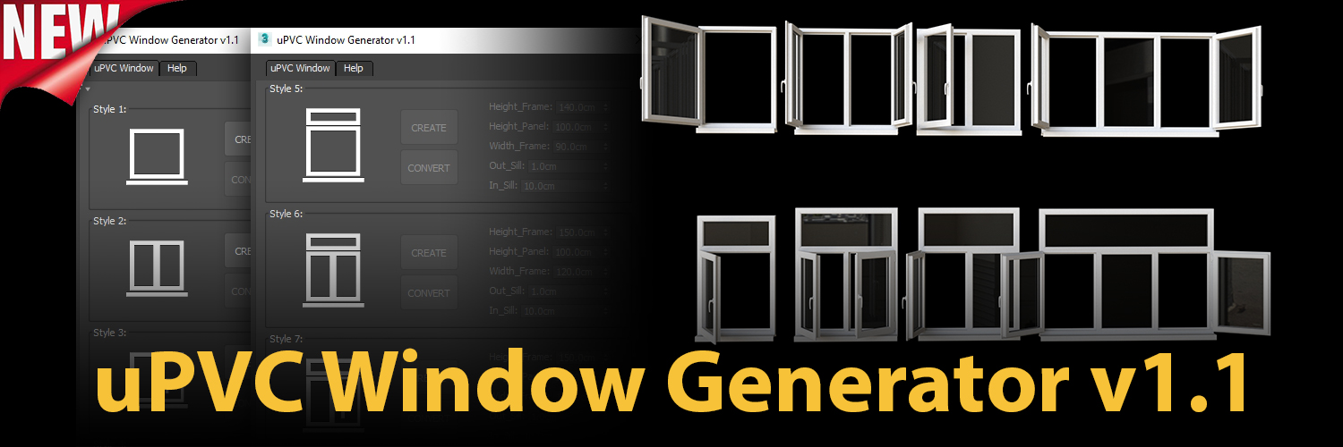 1500×500 uPVC Window Generator | ArchvizTools